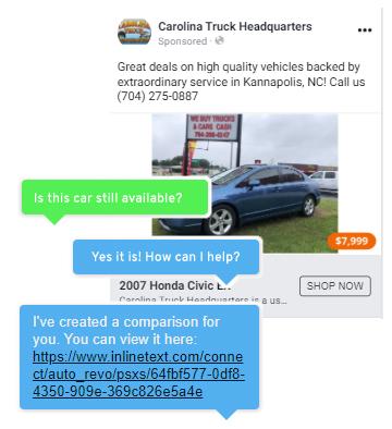 Facebook Display Ad Chat Sample